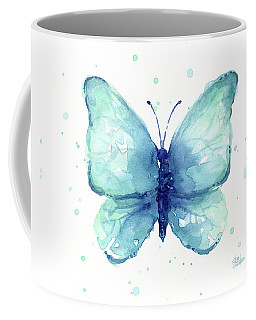 Blue Butterfly Watercolor Coffee Mug