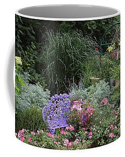 Blue Garden Bench Coffee Mug