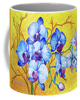 Coffee Mug featuring the painting Blue Orchids #2 by Nancy Cupp