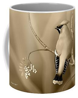 Bohemian Waxwing In Sepia Coffee Mug