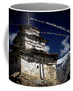 Buddhist Gompa And Prayer Flags In The Himalaya Mountains, Nepal Coffee Mug