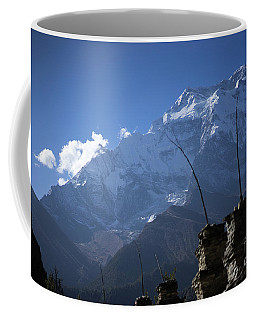 Buddhist Gompa And Prayer Flags In The Himalaya Range, Annapurna Region, Nepal Coffee Mug