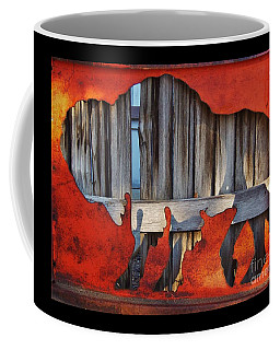Coffee Mug featuring the photograph Wooden Buffalo 1 by Larry Campbell
