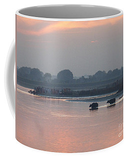 Coffee Mug featuring the photograph Buffalos Crossing The Yamuna River by Jean luc Comperat