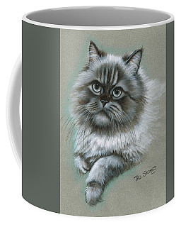 Coffee Mug featuring the mixed media Buster by Val Stokes