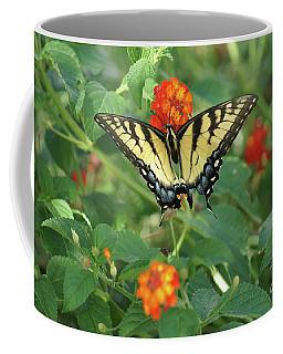 Butterfly And Flower Coffee Mug by Debra Crank