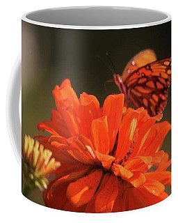 Coffee Mug featuring the photograph Butterfly On Flower by Donna G Smith
