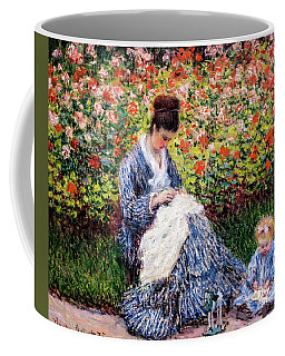 Camille Monet And A Child In The Artist's Garden In Argenteuil Coffee Mug