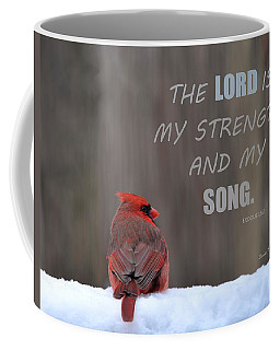 Cardinal In The Snowstorm With Scripture Coffee Mug