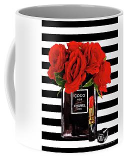 Chanel Perfume With Red Roses Coffee Mug