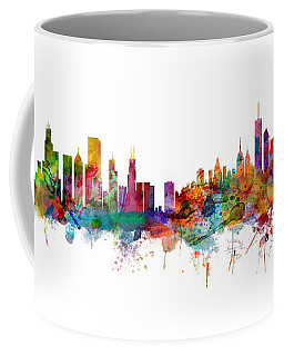 Chicago And New York City Skylines Mashup Coffee Mug