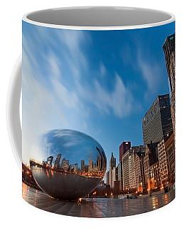 Chicago Skyline And Bean At Sunrise Coffee Mug