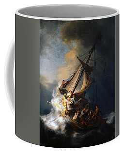 Coffee Mug featuring the painting Christ In The Storm On The Lake Of Galilee by Rembrandt