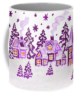Christmas Picture In Raspberry Pink Colours Coffee Mug