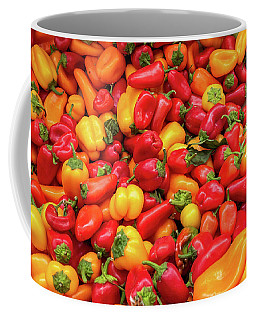 Coffee Mug featuring the photograph Close Up View Of Small Bell Peppers Of Various Colors by PorqueNo Studios