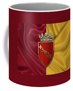 Coat Of Arms Of Rome Over Flag Of Rome Coffee Mug