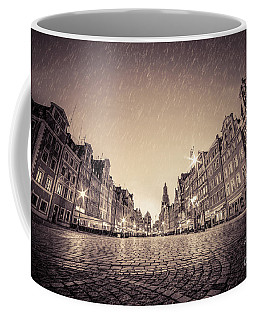 Cobblestone Historic Old Town In Rain At Night Wroclaw Coffee Mug