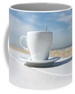 Coffee Mug featuring the photograph Coffee On The Beach by Patricia Hofmeester
