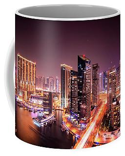 Colorful Night Dubai Marina Skyline, Dubai, United Arab Emirates Coffee Mug