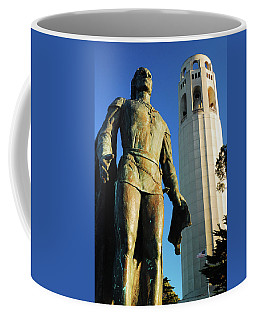 Coffee Mug featuring the photograph Columbus And The Coit Tower by James Kirkikis