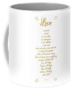 Coffee Mug featuring the digital art 1 Corinthians 13 Love Is White Background by Rose Santuci-Sofranko
