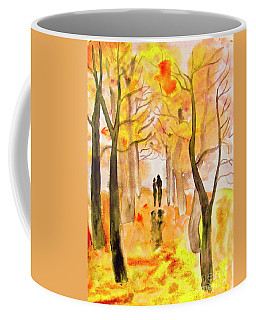 Couple On Autumn Alley, Painting Coffee Mug