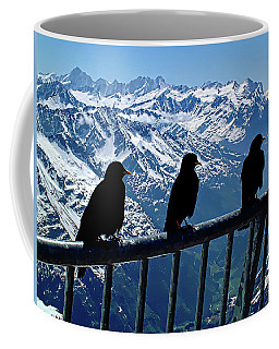 Coffee Mug featuring the photograph Crows On Top Of Mount Titlis - Switzerland by Joseph Hendrix