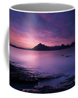 Coffee Mug featuring the photograph Cuillins At Sunset by Maria Gaellman