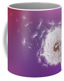 Dandelion Flying On Magenta Background Coffee Mug