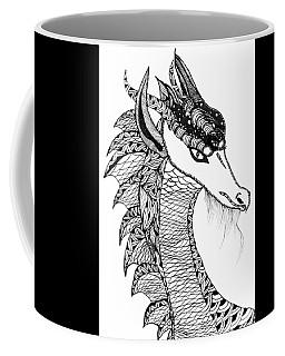 Coffee Mug featuring the drawing Dragon by Barbara McConoughey
