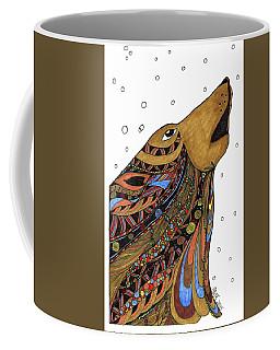 Coffee Mug featuring the drawing Eli Wolf by Barbara McConoughey