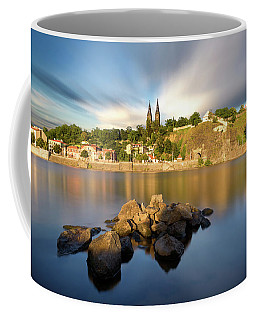 Famous Vysehrad Church During Sunny Day. Amazing Cloudy Sky In Motion. Vltava River, Prague, Czech Republic Coffee Mug