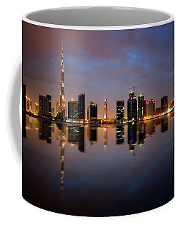 Fascinating Reflection Of Tallest Skyscrapers In Bussiness Bay D Coffee Mug