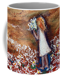 Coffee Mug featuring the painting Field Of Flowers by Winsome Gunning