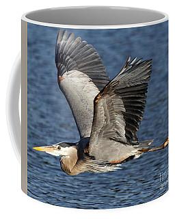 Flight Of The Great Blue Heron Coffee Mug