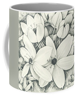 Coffee Mug featuring the drawing Flowers Pencil by Melinda Blackman