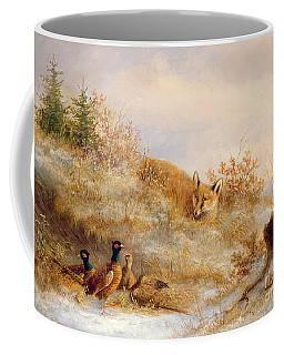 Fox And Pheasants In Winter Coffee Mug