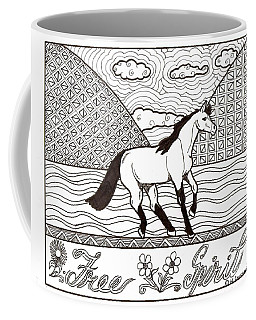 Coffee Mug featuring the drawing Free Spirit by Wendy Coulson