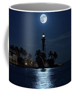 Coffee Mug featuring the photograph Full Moon Over Hillsboro Lighthouse In Pompano Beach Florida by Justin Kelefas