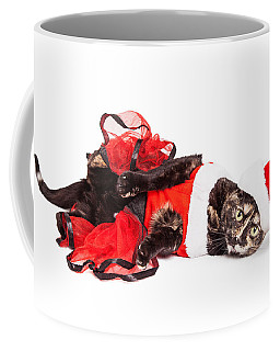 Funny Christmas Santa Cat Laying Coffee Mug