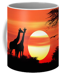 Giraffes At Sunset Coffee Mug