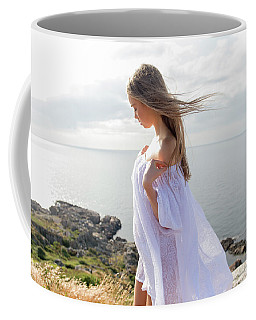 Girl In A White Dress By The Sea Coffee Mug