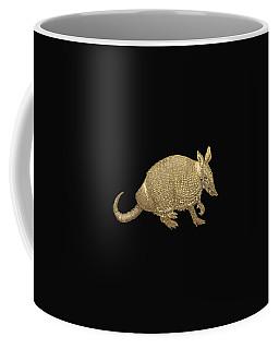 Gold Armadillo On Black Canvas Coffee Mug