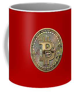 Gold Bitcoin Effigy Over Red Canvas Coffee Mug
