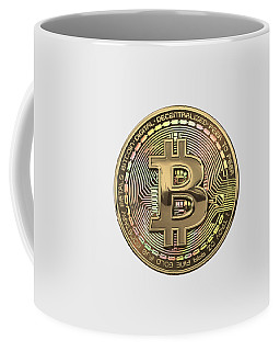 Gold Bitcoin Effigy Over White Leather Coffee Mug