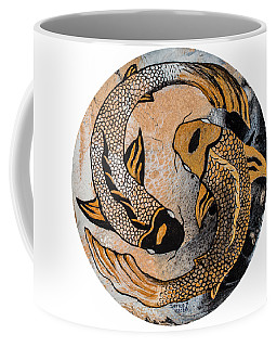 Coffee Mug featuring the painting Golden Yin And Yang by Darice Machel McGuire