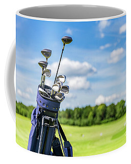 Golf Equipment Bag Standing On A Course. Coffee Mug