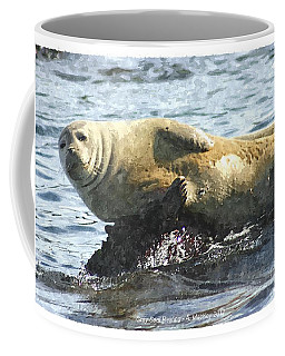 Coffee Mug featuring the digital art Gray Seal Resting by Art MacKay