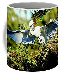 Great Egret Building Nest Coffee Mug