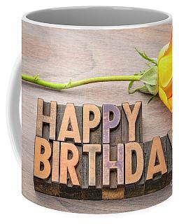 Happy Birthday Greetings In Wood Type Coffee Mug